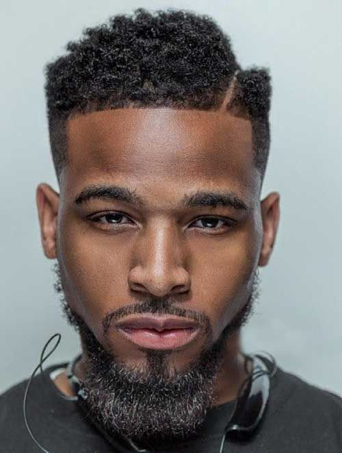 side parting haircut with beard