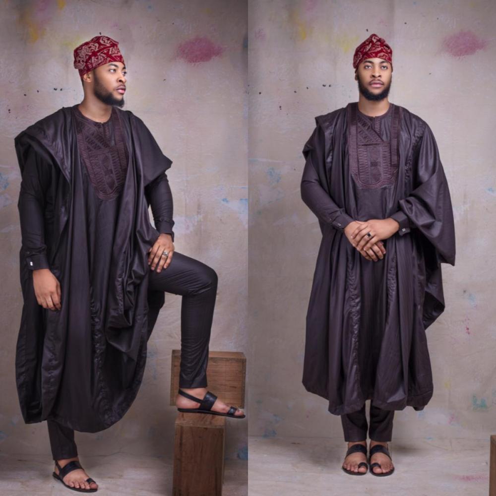 Yoruba men agbada with fila worn by bearded man