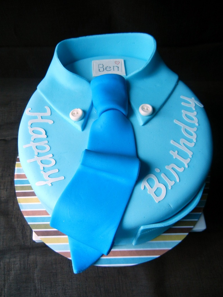 blue shirt and tie cake for a man