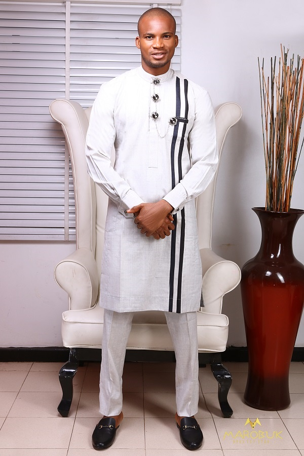 Model Wearing Clothes designed by Chidiebere Ekwunife - Nigerian Men Traditional Wears