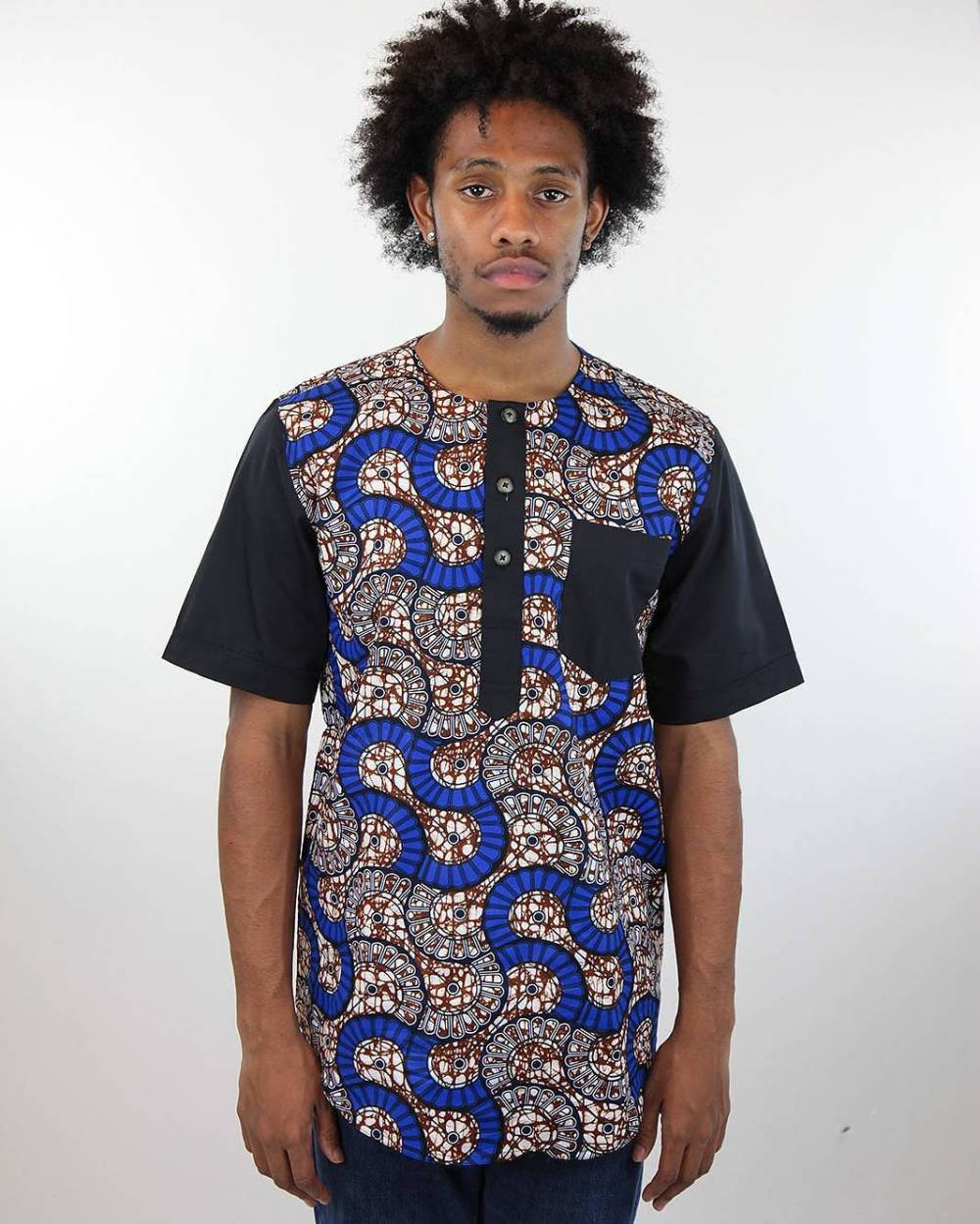 male blue and black shirt