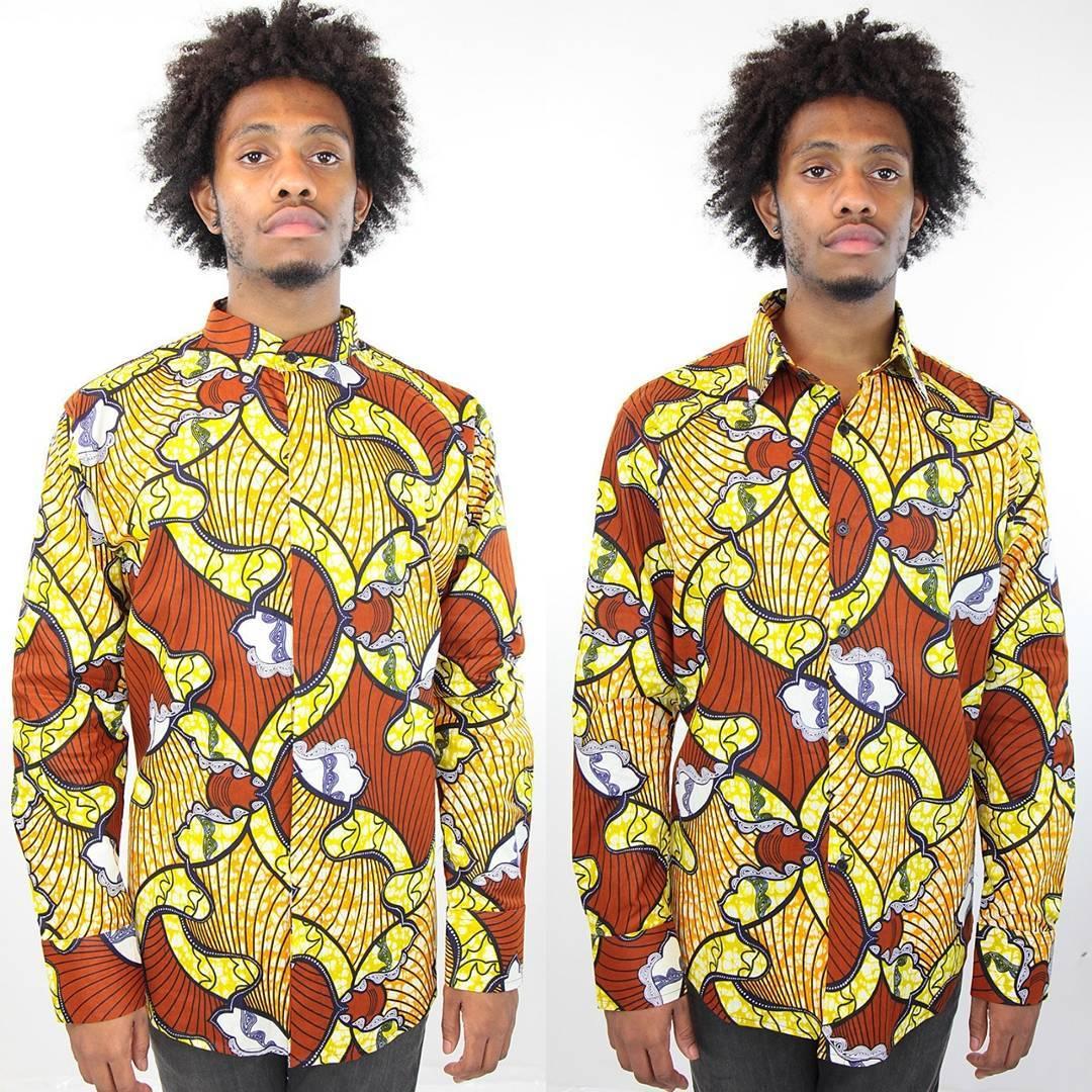ankara shirts with yellow undertones