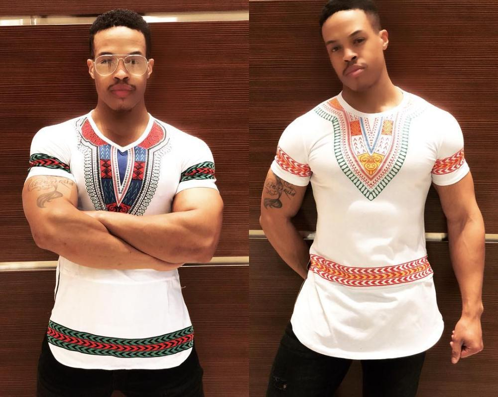 mens white shirt with dashiki highlight