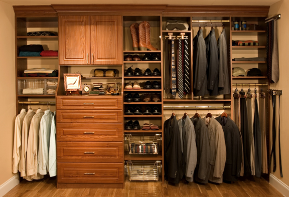 wardrobe filled with suits