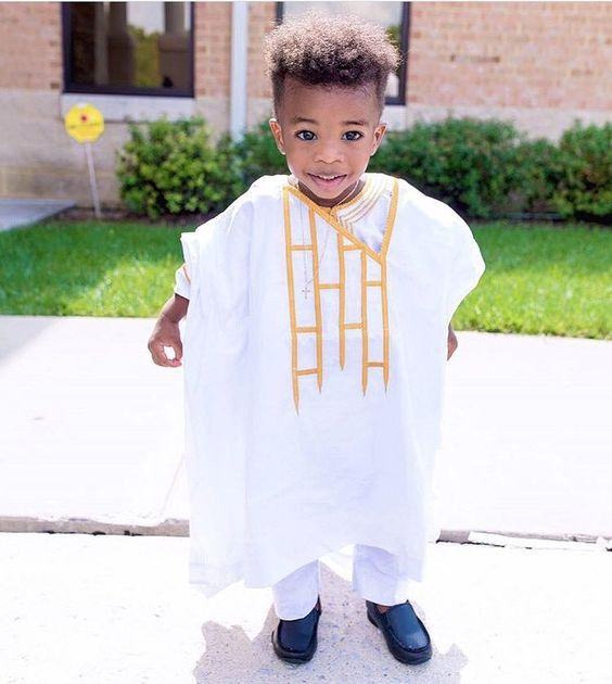 Agbada Styles for Baby Boys white and gold