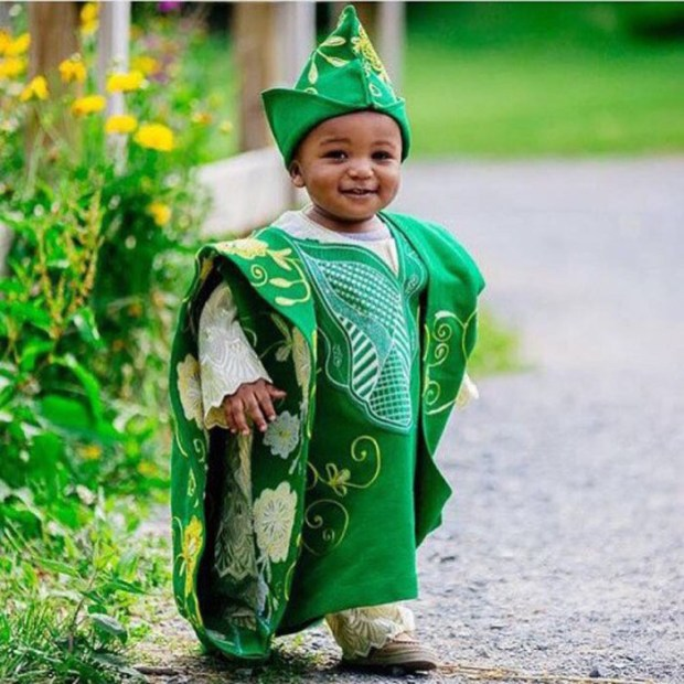 Agbada Styles for Baby Boys (2) green and white