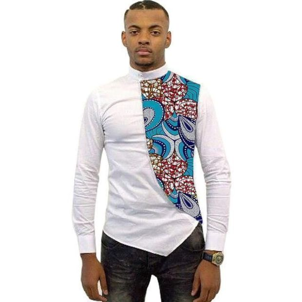 Cool white and kitenge shirt