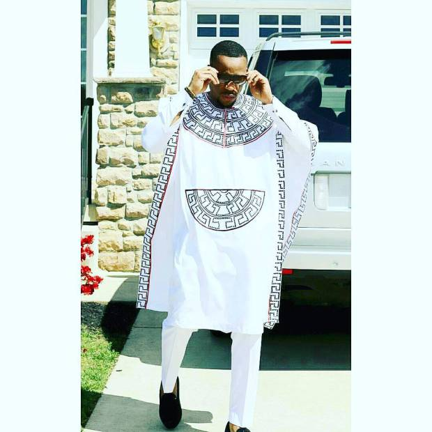 White and blue versace  design agbada