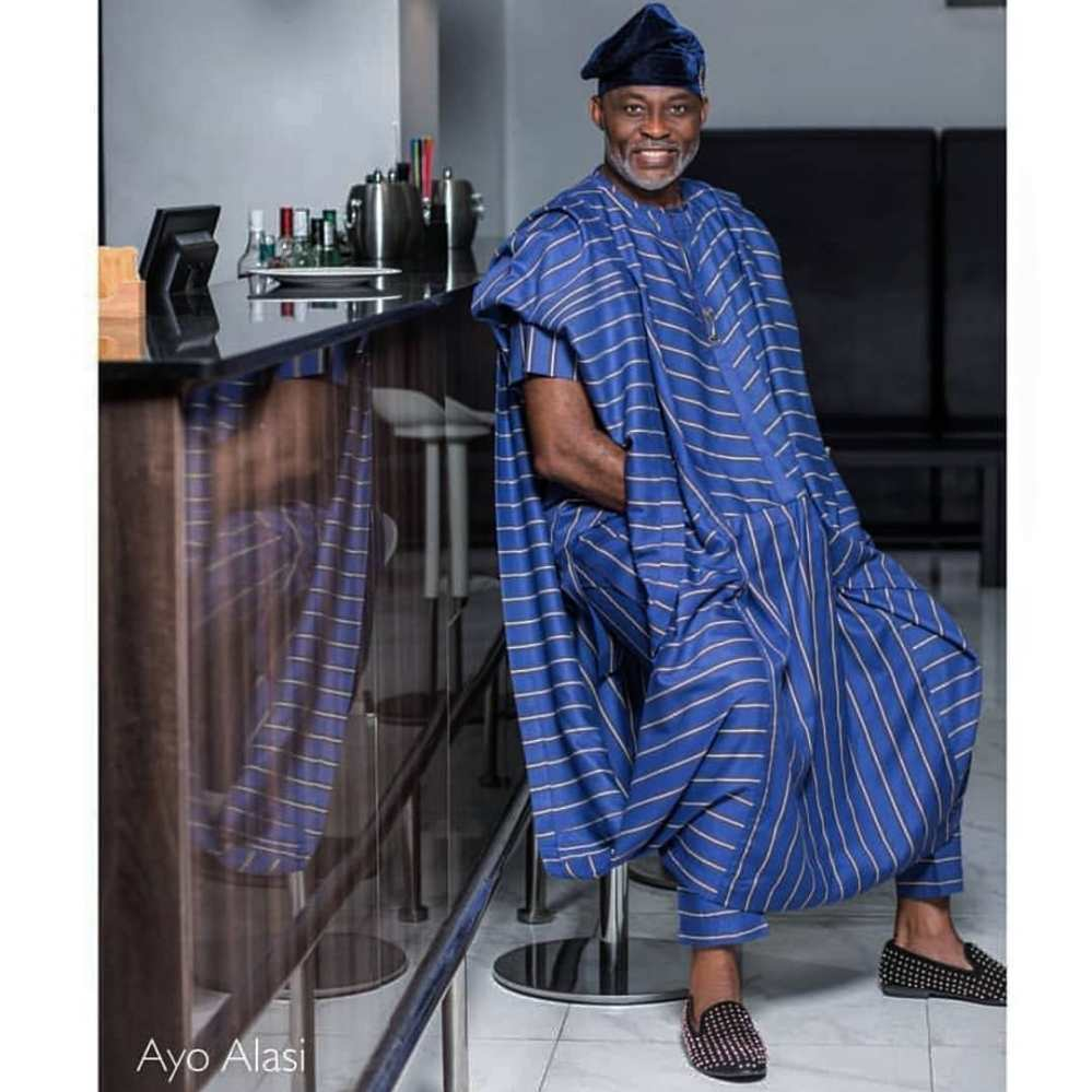 mofe damijo in blue striped agbada
