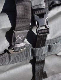 This image shows the REI Big Haul Duffel bag strap system.