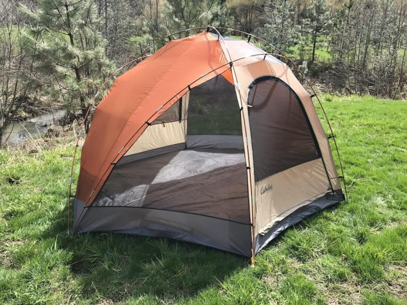 This Cabela's West Wind Dome Tent review photo shows a side profile outside without the rain fly.