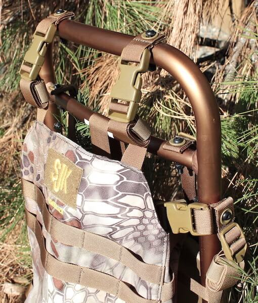 This hunting backpack image shows the Rail Hauler 2.0 top strap points.