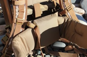 This SJK Rail Hauler 2.0 review image shows the padded hip belt of the hunting backpack.