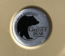 This image shows the bear-resistant certification on the Cabela's Polar Cap Equalizer Cooler.