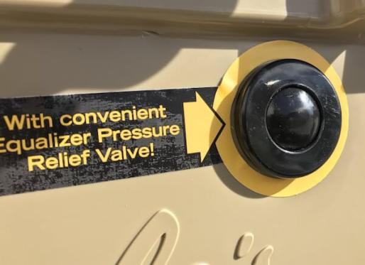 This Cabela's Polar Cap Equalizer Cooler review image shows the pressure relief valve.