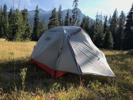 This photo shows the vestibule of the REI Quarter Dome 2 Tent.