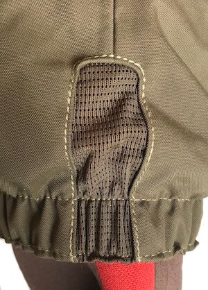 This image shows the mesh back of the built-in gravel guard on the Redington Sonic-Pro HD Wader.