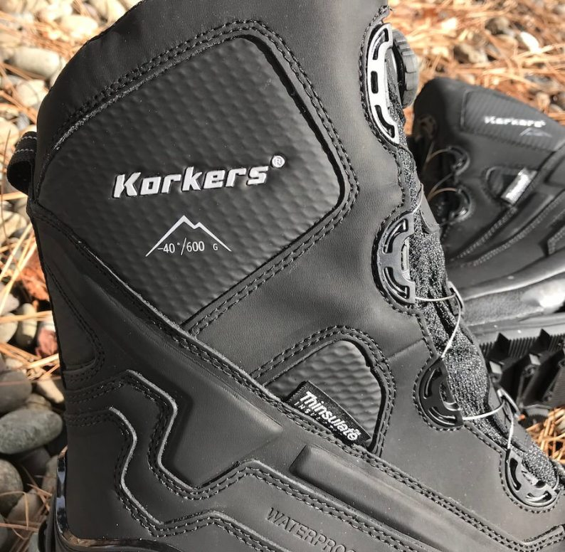 This photo shows a close up of the Korkers Polar Vortex 600 boot top.