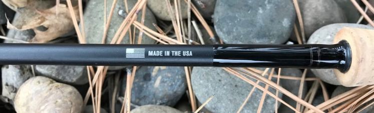 This photo shows the Made in the USA notice on the Sage Foundation Fly Rod.