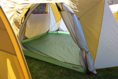 This photo shows the Eureka! Boondocker Hotel 6 Tent doors.