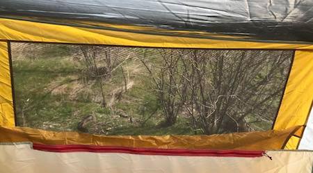 This photo shows the Eureka! Boondocker Hotel 6 Tent rear window.