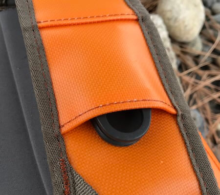 This photo shows the accessory buckle on the Fishpond Thunderhead Submersible Backpack.