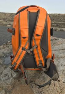 This photo shows the straps on the Fishpond Thunderhead Submersible Backpack.