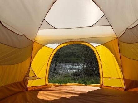 This photo shows mesh pockets inside the Big Agnes Big House 4 Deluxe tent.