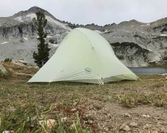 This photo shows the Big Agnes Fly Creek HV2 Platinum tent from a low angle.