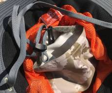 This Shelta Seahawk hat review photo shows the interior stash pocket on the Shelta Seahawk sun hat.