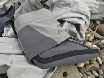 This photo of the Orvis Ultralight Convertible Wader shows the gravel guard and bootie.