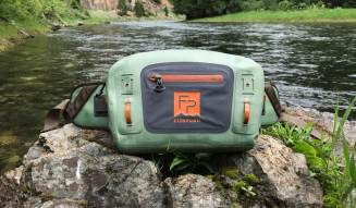 This photo shows the front of the Fishpond Thunderhead Submersible Lumbar Pack.