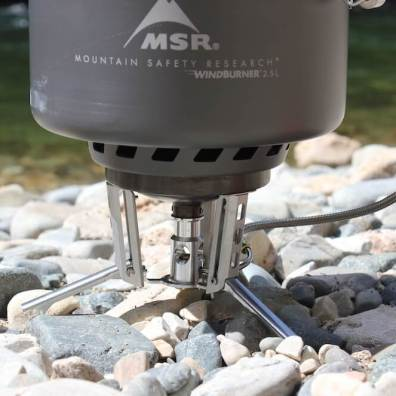 This photo shows the MSR WindBurner Stove System Combo show the stove, pot and fuel canister.
