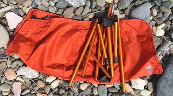 This photo shows the frame of the REI Co-op Flexlite Air Chair folded.