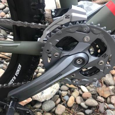This review photo shows the Shimano Acera crankset on the REI Co-op Cycles DRT 1.2.
