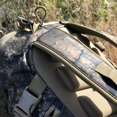 This photo shows the Nexgen Outfitters Whitetail Caddy Pack shoulder straps.
