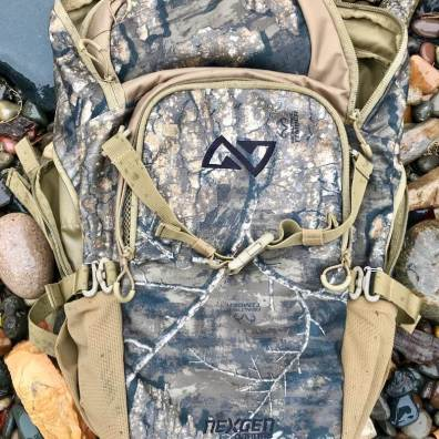 This photo shows the compression straps on the Whitetail Caddy Pack.
