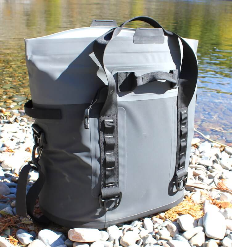 This photo shows the back of the YETI Hopper M30 soft cooler.