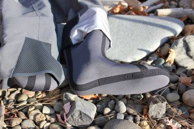 This photo shows the neoprene booties on the Orvis PRO Wader.