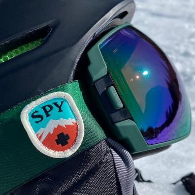 This photo shows a close up of the interchangeable lens of the SPY Legacy Snow Goggle.