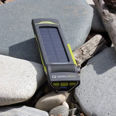 This Goal Zero Torch 250 review photo shows the Torch 250 outside charging in sunlight.