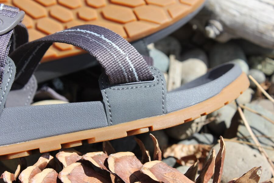 This review photo shows a closeup of the men's Chacos Lowdown Sandal strap attachment.