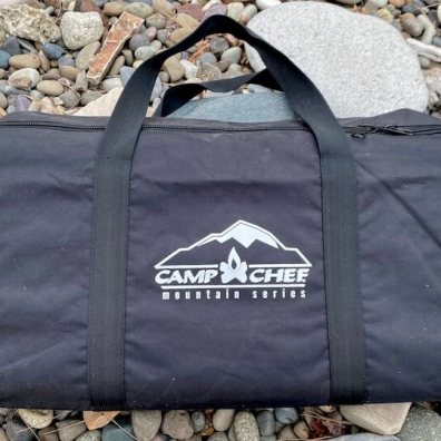 This photo shows the optional Camp Chef Mountain Series Stove Carry Bag.