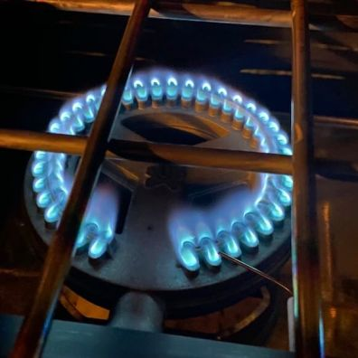 This photo shows the Pro 60X burner while lit with blue flames.