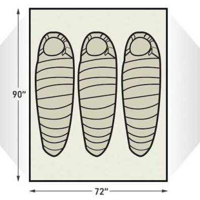 This illustration shows the sleeping arrangements for the L.L.Bean Mountain Light HV 3 Tent.
