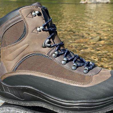 This photo shows a closeup of the Cabela's Hiker Wading Boots laces.