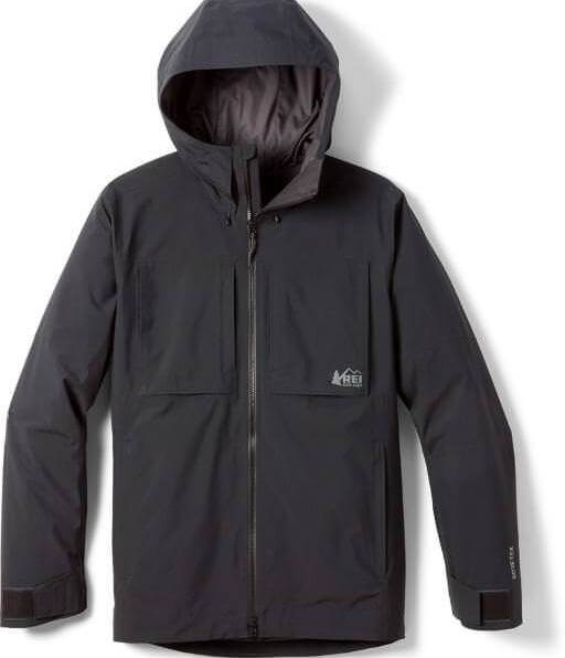 This photo shows the men's REI Co-op First Chair GTX Jacket in black.