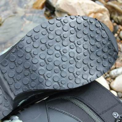 This photo shows the Vibram Idrogrip outsole on the L.L.Bean Apex Wading Boots.