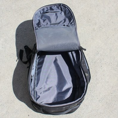 This photo shows the main compartment of the Able Carry Max Backpack.