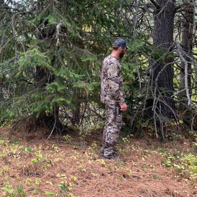 This photo shows the author testing the UA camo pattern in a sparsely timbered environment.